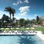 Enquanto o jardim é aberto, piscina e spa são reservados para hóspedes