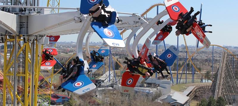 Skyhawk, o brinquedo em que você assume o controle da aeronave e pode virar 360 graus, no Wonderland