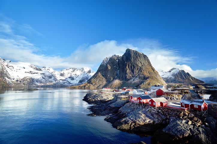 Fishing huts at spring day - Reine, Lofoten islands, Norway