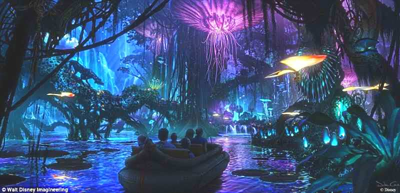 Nova atração da Disney entra no mundo do de Avatar. Visitantes flutuam entre as florestas brilhantes