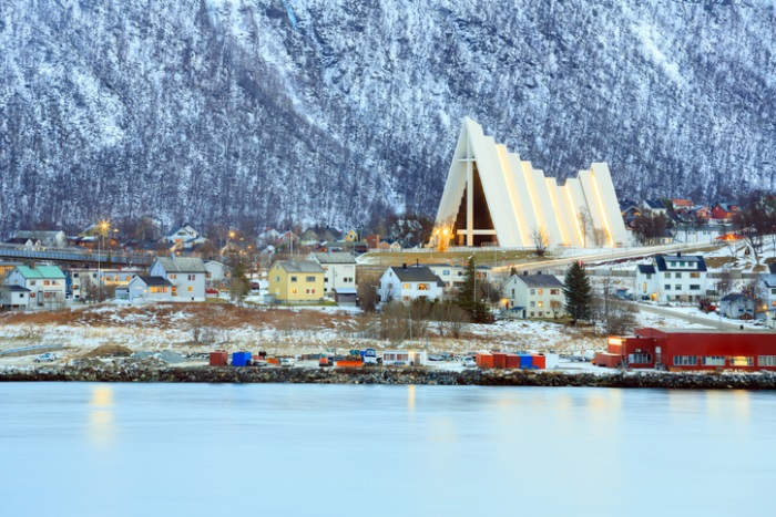 Tromso Cityscape with Arctic Cathedral Church in Norway at dusk twilight
