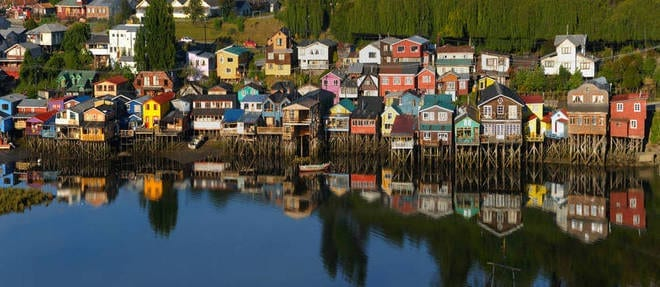 Stilts at the edge of the sea at Castro city in Chiloe island, Chile, Southamerica