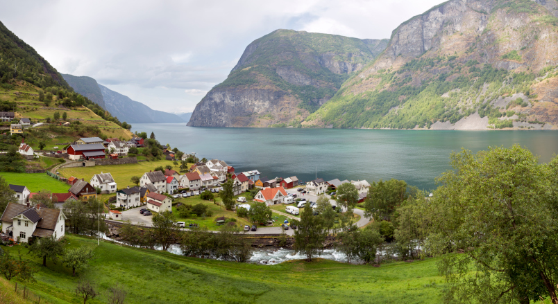 Panorama of town Undredal at the Aurlandsfjorden (Norway)