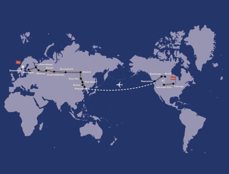 Mapa Volta ao Mundo de Trem